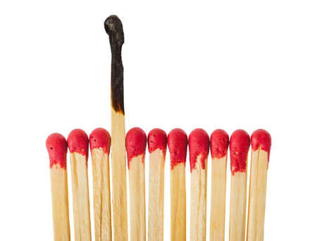 Matches - leadership or inspiration concept isolated on white background Foto de archivo