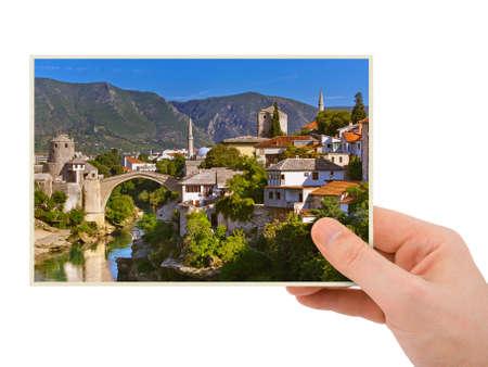 Hand and Mostar - Bosnia and Herzegovina isolated on white background Archivio Fotografico