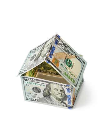 Casa dei soldi isolata su sfondo bianco Archivio Fotografico