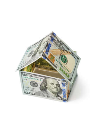 Dom pieniędzy na białym tle Zdjęcie Seryjne