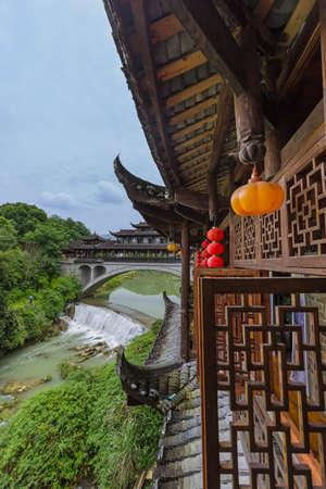 Furong ancient village and waterfall - Hunan China - travel background
