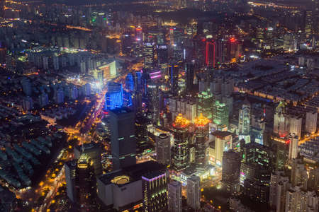 Shanghai, China - May 23, 2018: A night view from Shanghai tower to the modern skyline in Shanghai, China. Redakční