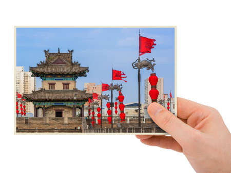 Hand and North wall of old town - Xian China (my photo) isolated on white background Reklamní fotografie