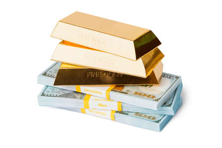 Gold and money isolated on white background Standard-Bild - 122107909
