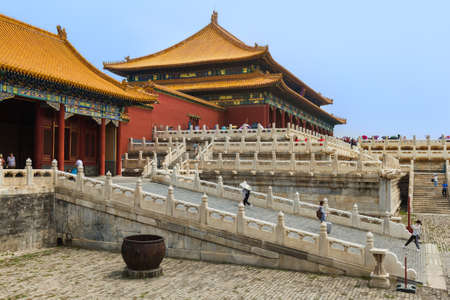 Beijing, China - May 16, 2018: Tourists in Gugong Forbidden City Palace. Redakční