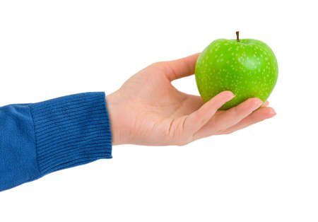 Hand with apple isolated on white background Reklamní fotografie