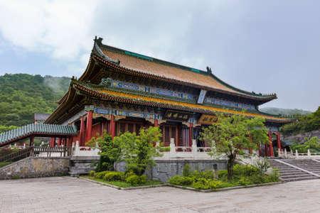 Buddhist temple at Tianmenshan nature park - Zhangjiajie China - travel background Standard-Bild - 122108137