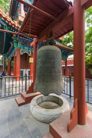 Bell in Lama Yonghe Temple in Beijing China - architecture background