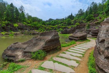 Park of red stones Hongshilin - Hunan China - nature background Standard-Bild - 122030805