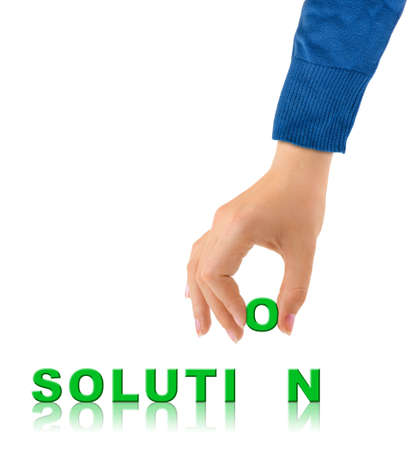 Hand and word Solution - business concept, isolated on white background