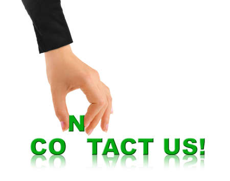 Hand and words Contact Us isolated on white background