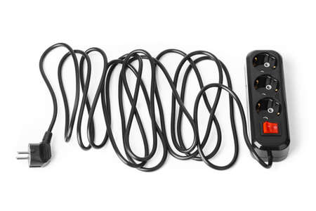 Electrical extension cord isolated on white background