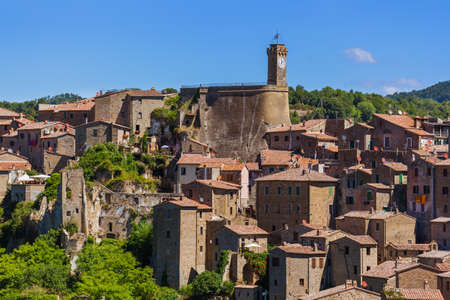 Sorano medieval town in Tuscany Italy - architecture background