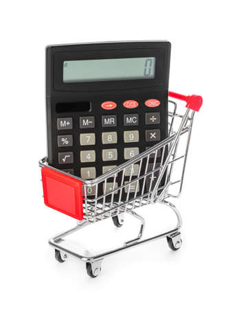 Calculator in shopping cart isolated on white background Фото со стока