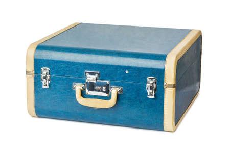 Vintage travel suitcase isolated on white background Stock Photo