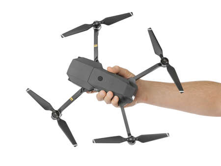 Drone in hand - isolated on white background Zdjęcie Seryjne