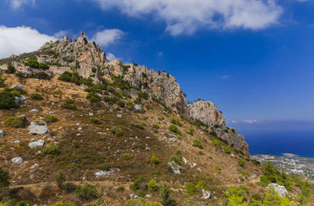 Historical Saint Hilarion Castle in Kyrenia region - Northern Cyprus - architecture background