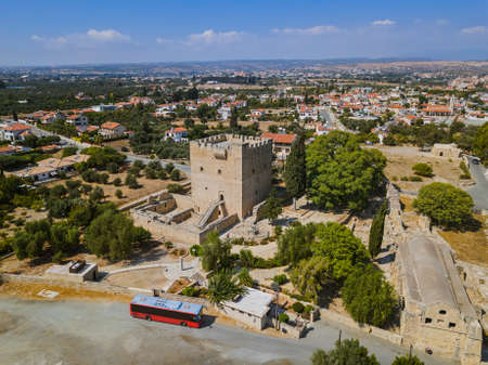 Kolossi castle in Limassol Cyprus - aerial view