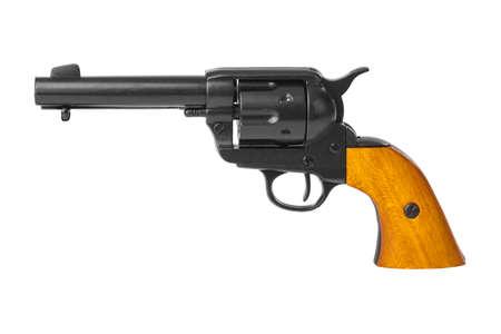 Revólver pistola aislado sobre fondo blanco.