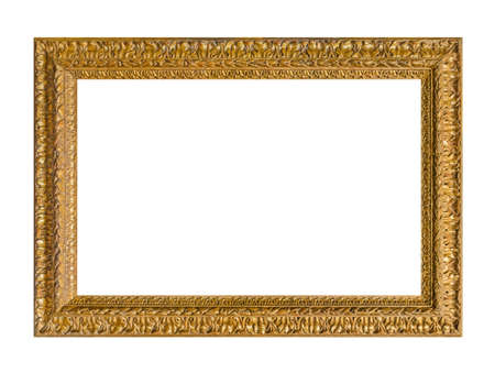 Old wooden picture frame isolated on white background Stockfoto