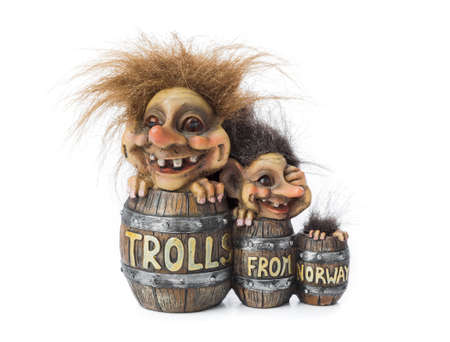 Souvenir Troll from Norway isolated on white background Imagens