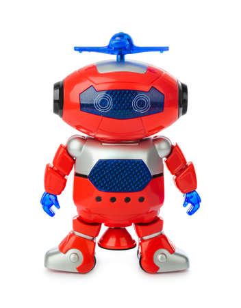 Toy robot isolated on white background
