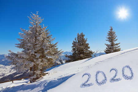 2020 on snow at mountains - St. Gilgen Austria - nature and sport background