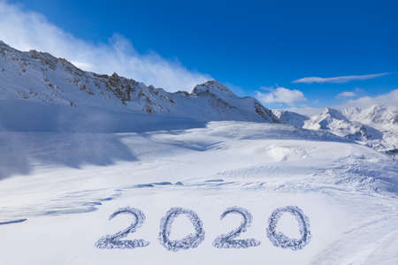 2020 on snow at mountains - Hochgurgl Austria - nature and sport background