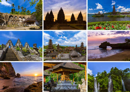 Collage of Bali Indonesia travel images (my photos) - nature and architecture background Stock fotó