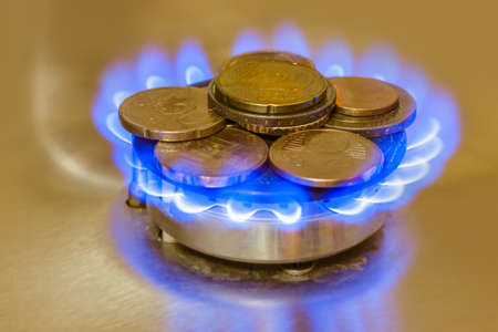 Coins of on the gas burner of the kitchen stove - business background