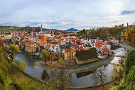 Paysage urbain de Cesky Krumlov en République tchèque - fond de voyage et d'architecture