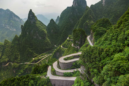 Mountains road in Tianmenshan nature park - China - travel background