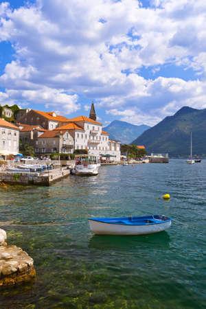 Village Perast on coast of Boka Kotor bay - Montenegro - nature and architecture background 写真素材