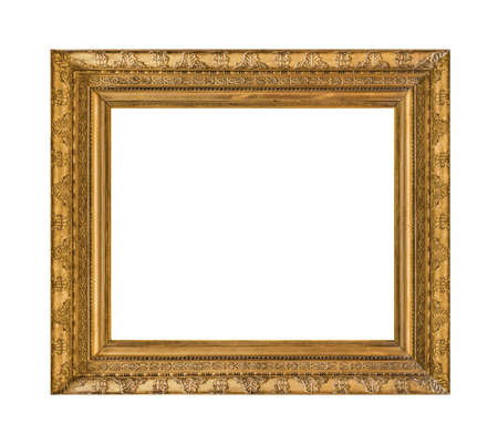 Old wooden picture frame isolated on white background 写真素材