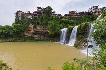 Furong, China - May 29, 2018: Furong ancient village and waterfall in Hunan. 報道画像