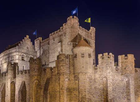 Gravensteen castle in Gent - Belgium - architecture background 報道画像