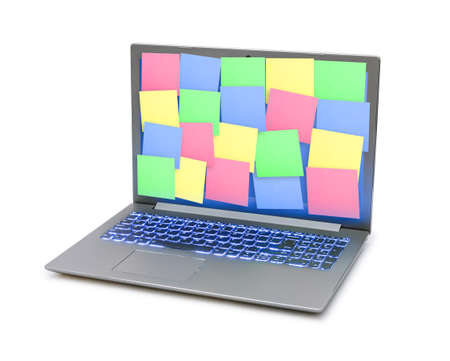 Sticky Note Papers on Notebook computer Screen isolated on white background