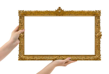 Wooden picture frame in hands isolated on white background Zdjęcie Seryjne