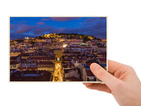Hand and Lisbon Portugal cityscape (my photo) isolated on white background