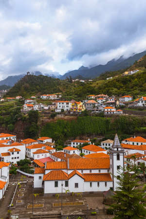 Mountain village Sao Vicente in Madeira Portugal - travel background Zdjęcie Seryjne