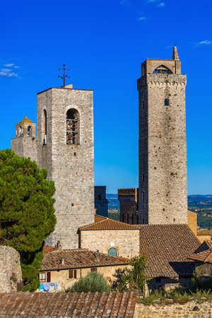 San Gimignano medieval town in Tuscany Italy - architecture background Publikacyjne