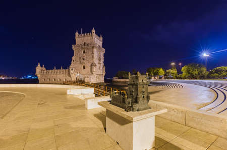 Belem Tower and miniature model - Lisbon Portugal - architecture background