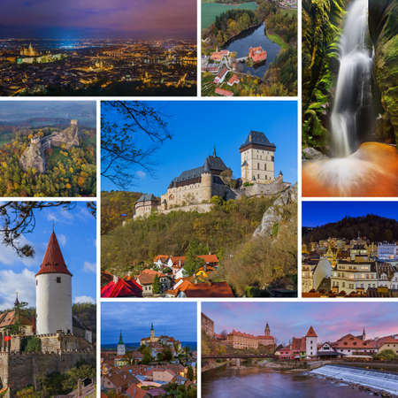 Collage of Czech republic images (my photos) - travel and architecture background Publikacyjne