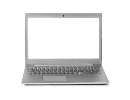 Notebook computer with russian keyboard isolated on white background