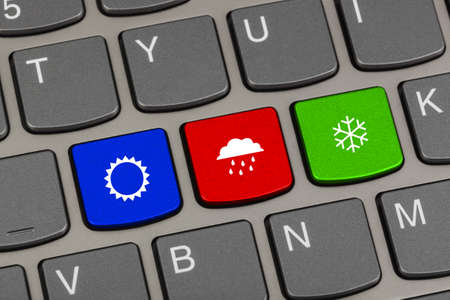 Computer keyboard with Weather key - technology background Zdjęcie Seryjne