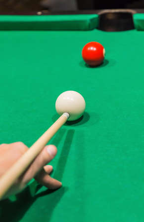 Billiard balls on pool green table - sport background Zdjęcie Seryjne