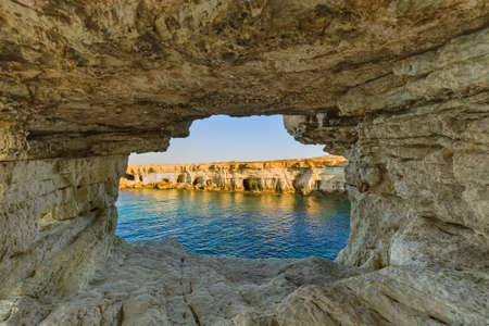 Famous Sea Caves in Ayia Napa Cyprus - nature background