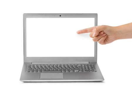 Notebook computer and pointing hand isolated on white background