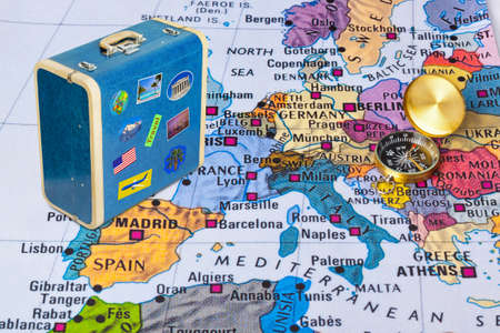 Europe map and compass - travel background Imagens