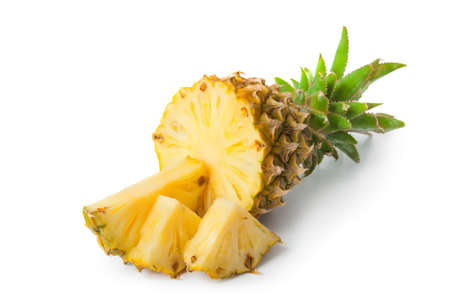 Ripe pineapple isolated on white background Фото со стока